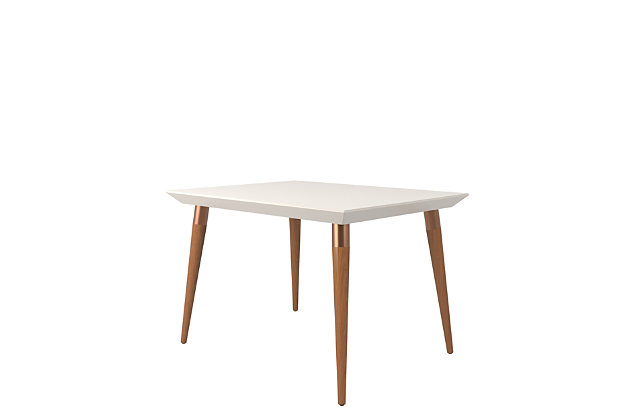 Manhattan Comfort Utopia Rectangle Dining Table in White and Maple, White/Brown, large