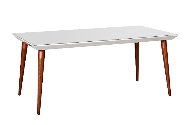Manhattan Comfort Utopia Dining Table in White Gloss and Maple Cream, White Gloss/Brown, large