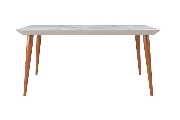 Manhattan Comfort Utopia Dining Table in Off White and Maple Cream, Off-White/Brown, large