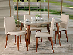 Manhattan Comfort 5-Piece Utopia Dining Set in Off White and Beige, White/Brown, rollover