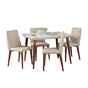 Manhattan Comfort 5-Piece Utopia Dining Set in Off White and Beige, White/Brown, large