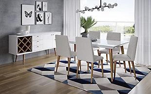 Manhattan Comfort 7-Piece Utopia Dining Set in White Gloss and Beige, White/Beige, rollover