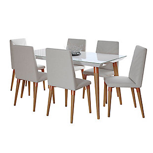 Manhattan Comfort 7-Piece Utopia Dining Set in White Gloss and Beige, White/Beige, large