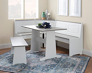 Austell White and Gray Breakfast Nook, White/Gray, rollover