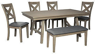 Aldwin Dining Table and 4 Chairs and Bench, , large