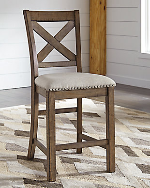 Moriville Single Counter Height Bar Stool, Beige, rollover