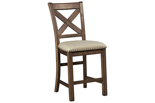Moriville Single Counter Height Bar Stool, Beige, large