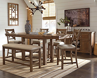 Moriville Counter Height Dining Table and 4 Barstools and Bench with Storage, , large