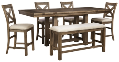 Picture of: Moriville Counter Height Dining Table And 4 Barstools And Bench Set Ashley Furniture Homestore