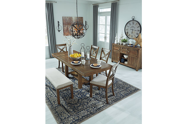 Moriville Dining Table and 4 Chairs and Bench, , large