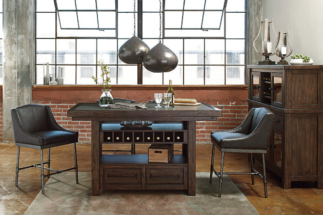 Urban Industrial Styled Counter Height Tables With Storage And Cement Table  Tops. Brown Starmore Counter Height Dining Room ... Part 45