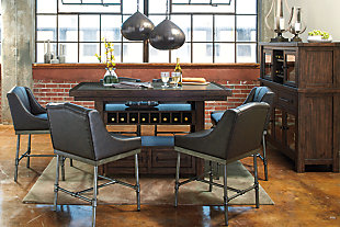 oiled walnut colored counter height dining sets with retro styled wingback barstools