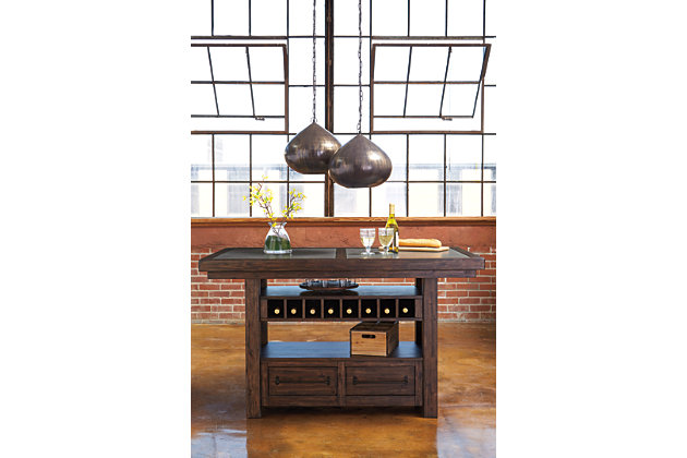 counter height table has drawers and wine rack can double as a storage kitchen island dining room - Height Of Dining Room Table