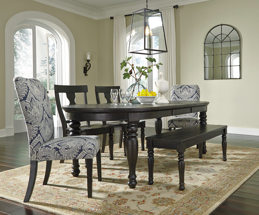Large Oval Dining Table With A Complementing Mix Of Solid Wood Chairs And  Bench Accented With