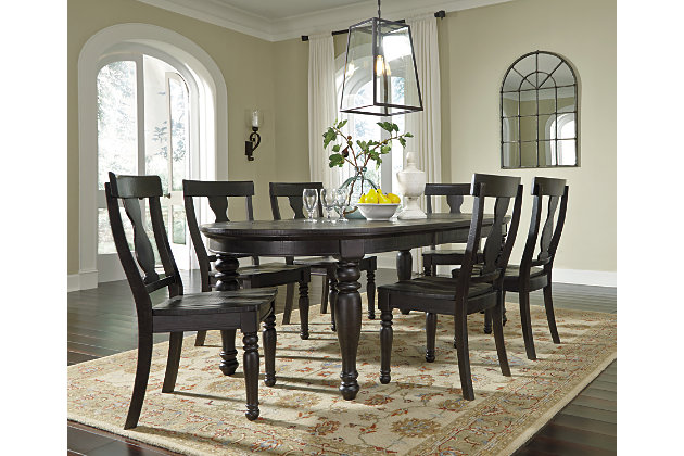 Drop in leaf allows for ample seating with the oval dining room table and  kitchen chairsSharlowe Dining Room Table   Ashley Furniture HomeStore. Oval Dining Room Furniture. Home Design Ideas