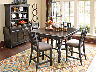 Great Dark Finished Counter Height Dining Table And Slat Back Stools Idea