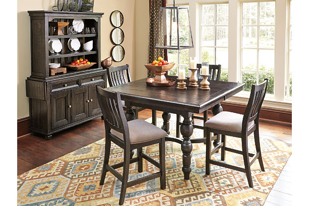 extendable counter height table and chair sets with matching china hutch dining room - Height Of Dining Room Table