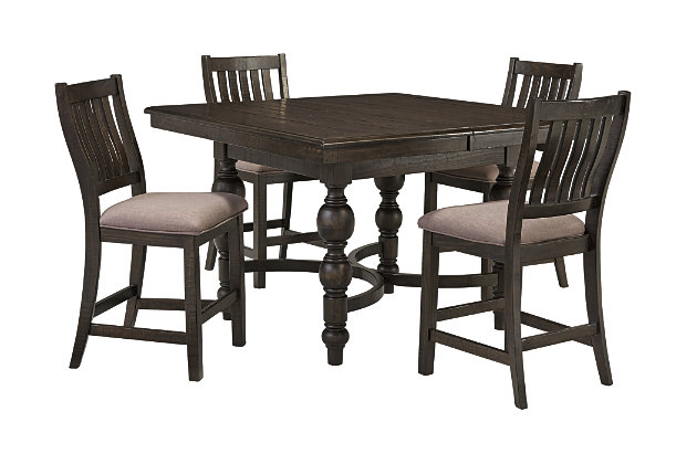 dark finished counter height dining table and slat back stools