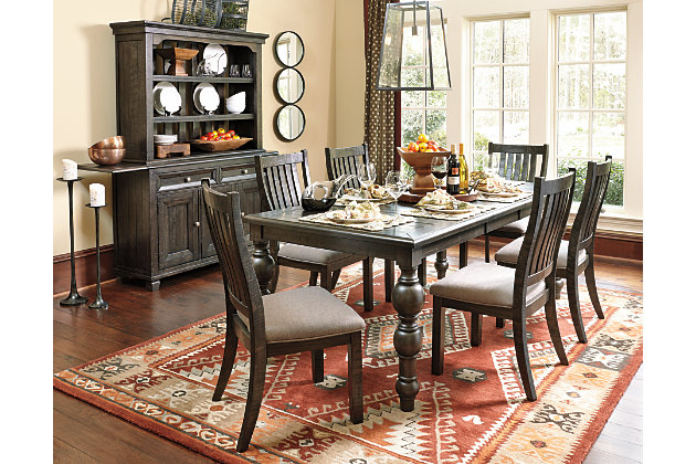 Rectangular Kitchen Tables And Chairs Upholstered In Brown Textured Fabric