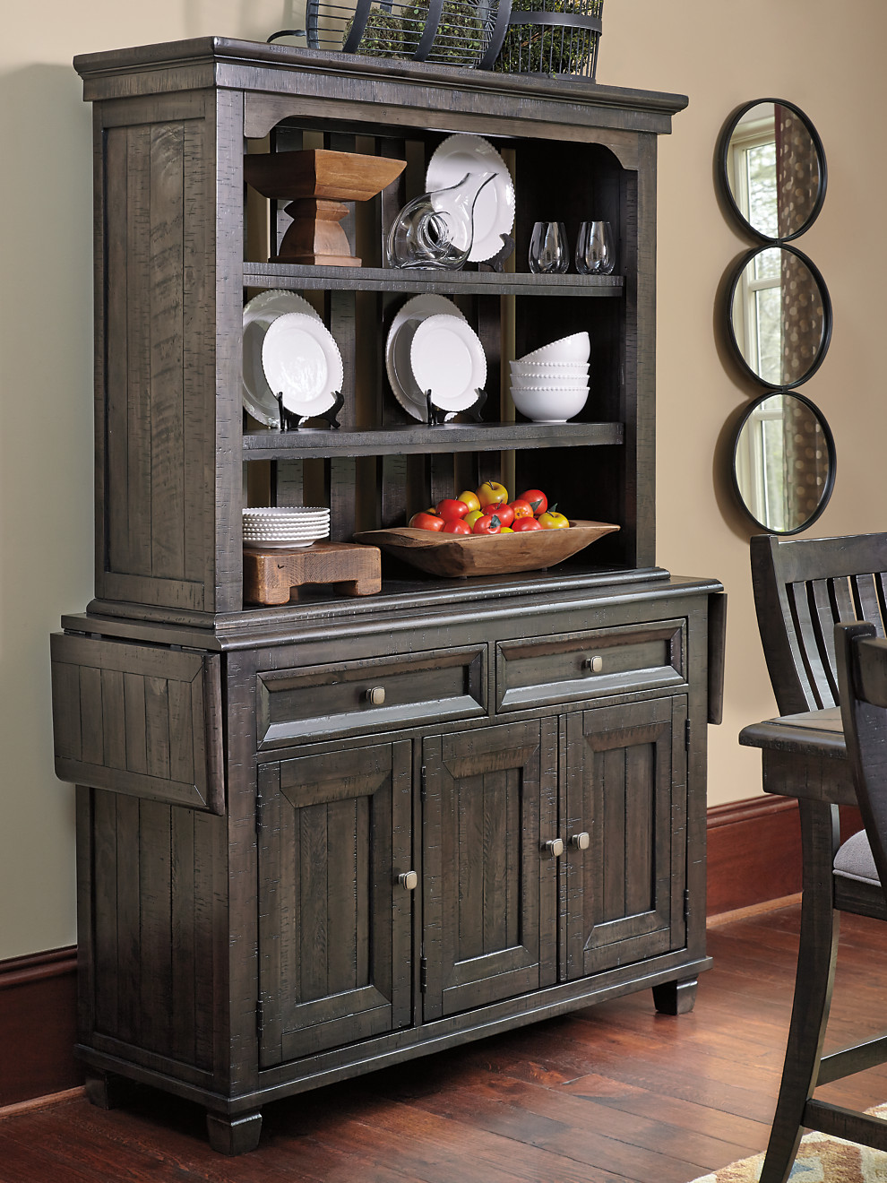 Textured Wood Dining Room Buffet China Hutch With Unique Drop Down Side Server Tops