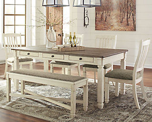 Bolanburg Dining Table and 4 Chairs and Bench, , rollover