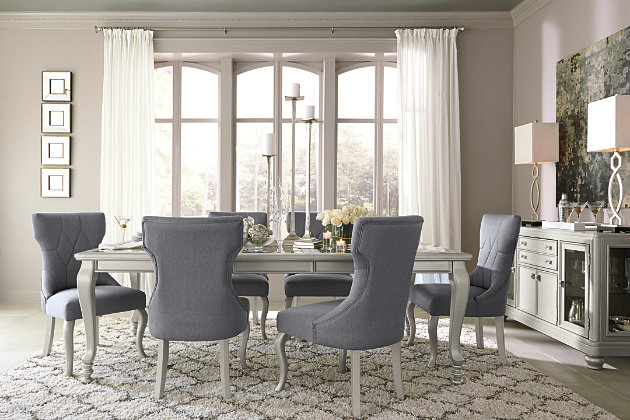 silver gray extension dining room table and chairs with server buffet