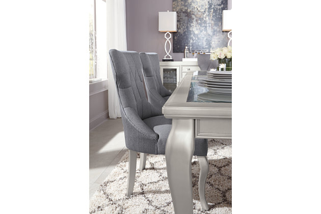 Diamond Tufted Gray Upholstered Dining Room Chairs And Formal Dining Room  Tables