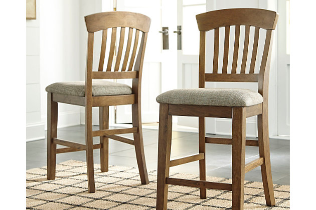 Tamburg Counter Height Bar Stool (Set of 2) by Ashley HomeStore, Light Brown