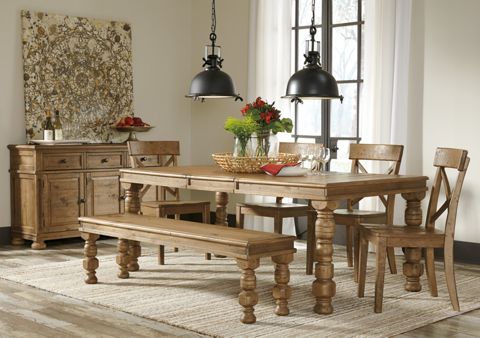 Farmhouse Styled Dining Room Table With Bench And Kitchen Chairs Seating Options