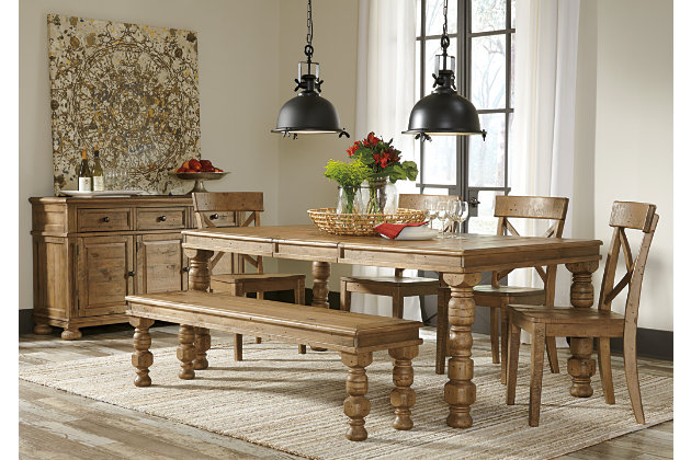 farmhouse styled dining room table with bench and kitchen chairs seating  options - Trishley Dining Room Bench Ashley Furniture HomeStore