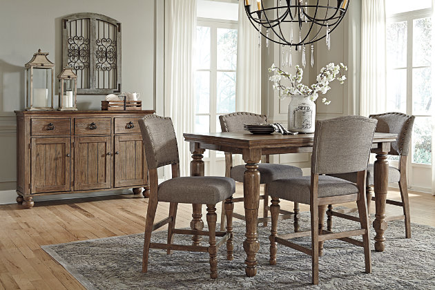 grayish brown tanshire counter height dining room table view 4 - Height Of Dining Room Table