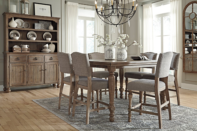 grayish brown tanshire counter height dining room table view 3 - Height Of Dining Room Table
