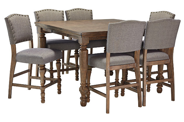 Grayish Brown Tanshire Counter Height Dining Room Table View 6