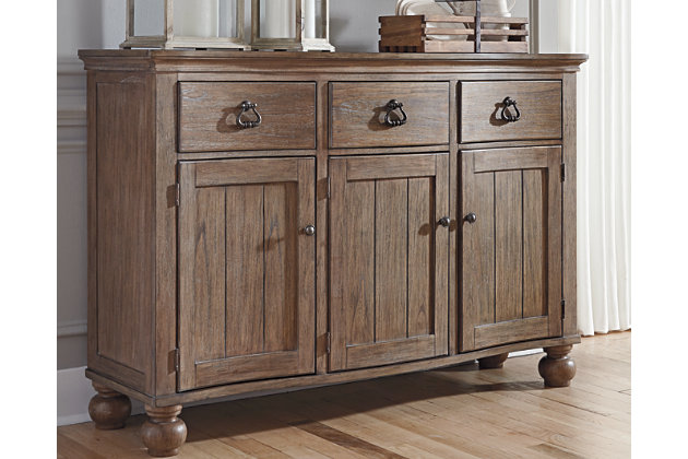 Grayish Brown Tanshire Dining Room Server View 1