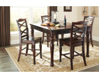Rustic Brown Porter Counter Height Dining Room Table View 3