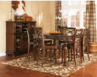 Rustic Brown Porter Counter Height Dining Room Table View 5