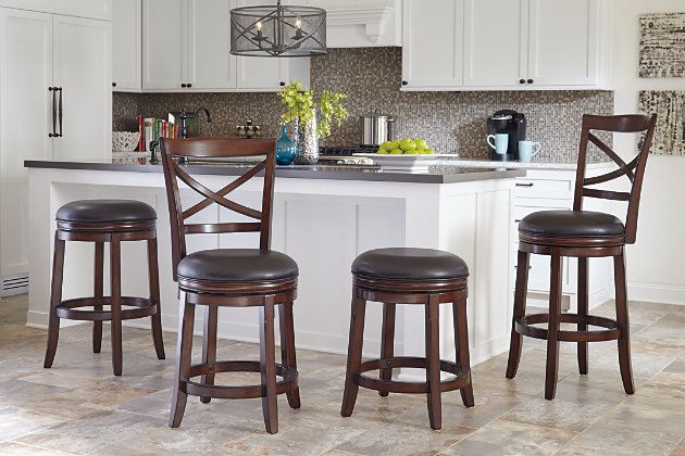 Porter Counter Height Bar Stool, Rustic Brown, large
