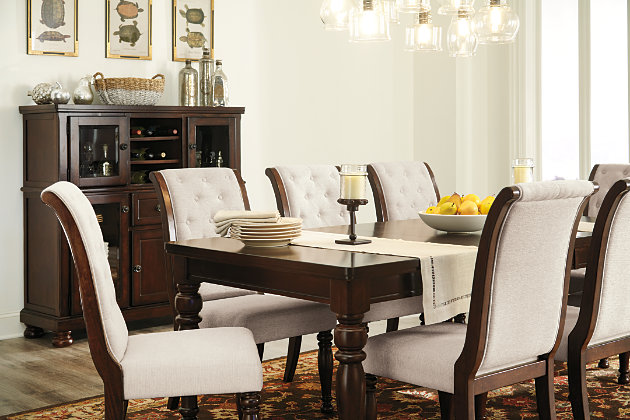 Formal Dining Room Furniture With Upholstered Chairs And Large Storage Sideboard