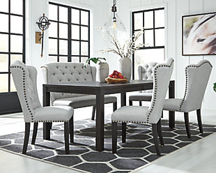 Jeanette Dining Table and 4 Chairs and Bench, , large