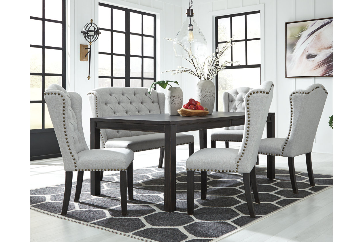 Jeanette Dining Table And 4 Chairs, Dining Room Table With 4 Chairs And A Bench
