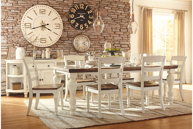 Casual Two Tone White And Brown Wood Dining Table Set