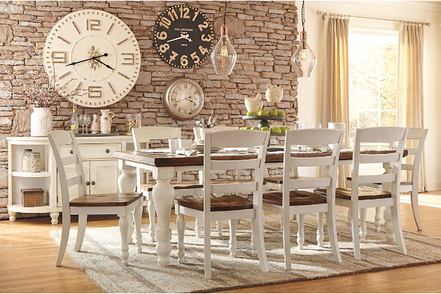 Marsilona Two Tone Brown And White Dining Room Table Chair Set
