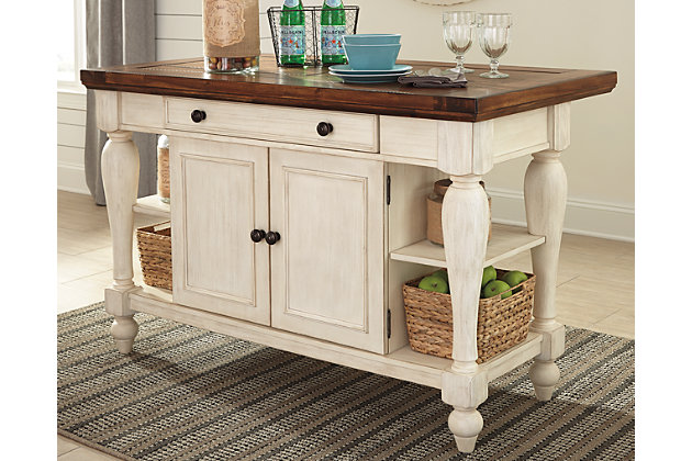 Marsilona Kitchen Island By Ashley Homestore White