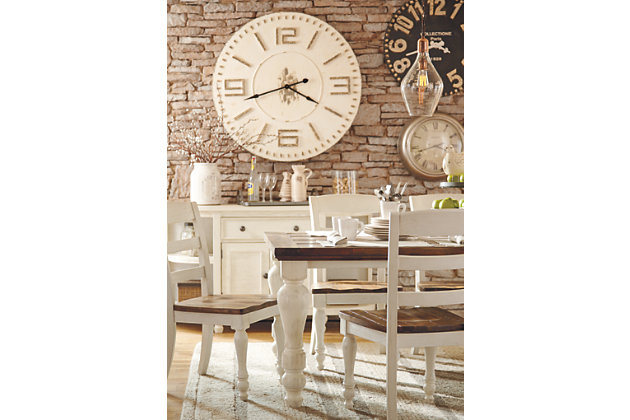 Marsilona Two Tone White And Brown Dining Room Set