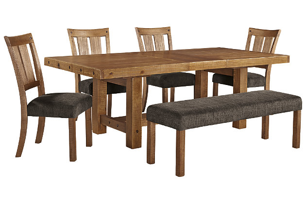 Tamilo Dining Table and 4 Chairs and Bench, , large
