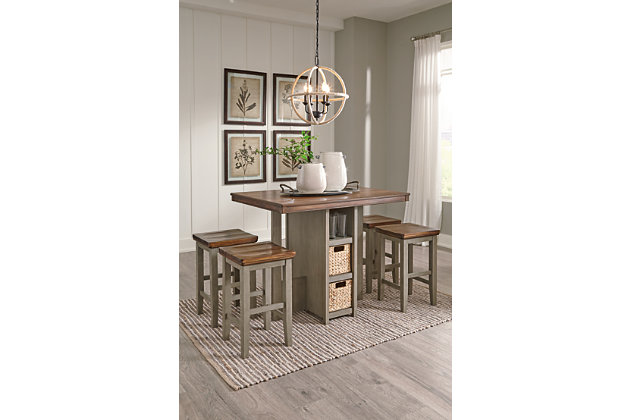 Lettner Counter Height Dining Table and Bar Stools (Set of 5), , large