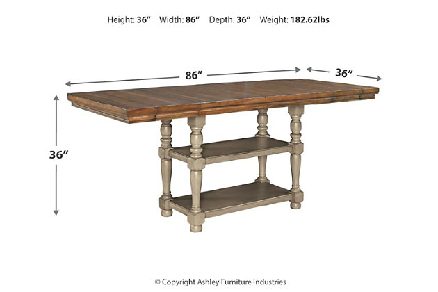 Lettner Counter Height Dining Room Extension Table, , large