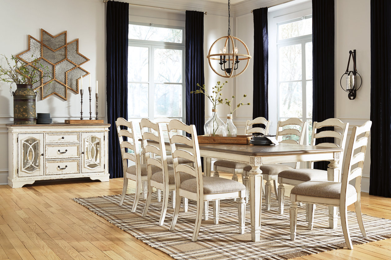 Realyn Dining Table And 8 Chairs Set, Ashley Furniture Realyn Dining Room Server