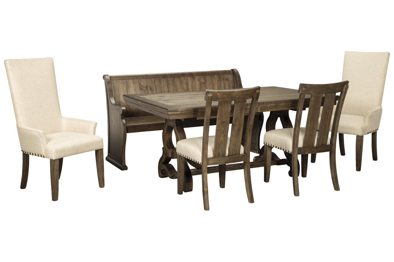 Wendota Dining Table And 4 Chairs And Bench Set Ashley Furniture Homestore