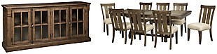 Wendota Dining Table and 8 Chairs with Storage, , large